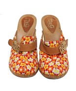 Auth DOLCE & GABBANA Orange Floral Canvas Slide Mules Size 39 US 9 UK 6 - $186.07