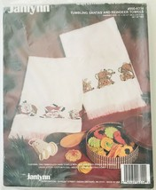Janlynn Christmas Cross Stitch Tumbling Santas & Reindeer 2 Towels Kit 9... - $16.44