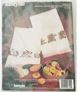 Janlynn Christmas Cross Stitch Tumbling Santas & Reindeer 2 Towels Kit 9... - $16.44