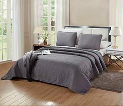 2-Piece Bedding Aria Quilt Set Solid Dark Grey/Gray Twin/Twin XL Size 60... - $69.90