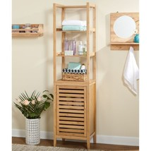 Natural Bamboo Bathroom Linen Tower Cabinet Shelves Organizer Toiletries... - $147.34