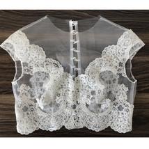 White Sleeveless Illusion Neckline Crop Lace Tops  Boho Wedding Bridesmaid Tops  image 1