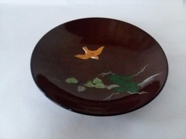 Vintage Brown Lacquer Japanese Hand Painted Bird Bowl Wear - $12.86