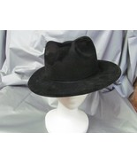 BLACK FEDORA HAT FLOCKED PLASTIC GREAT FOR PHANTOM, GANGSTER - $3.50