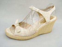 """Liz Claiborne Beige Sandals Women's 7½M Fabric Wedge 3"""" Heels Excellent Worn 1X - $28.46"""
