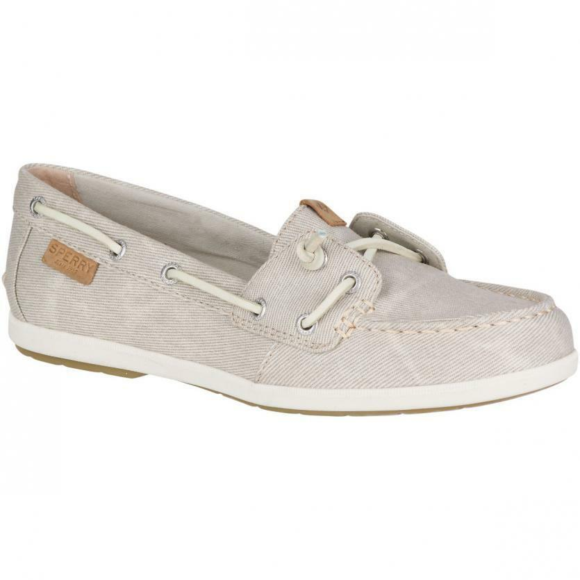Sperry Top-Sider Coil Ivy Stone Grey Water Canvas Boat Shoes STS80623 NIB