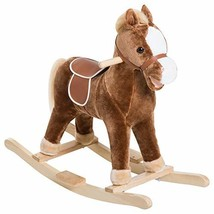 Qaba Kids Plush Toy Rocking Horse Ride on with Realistic Sounds - Brown - $55.10