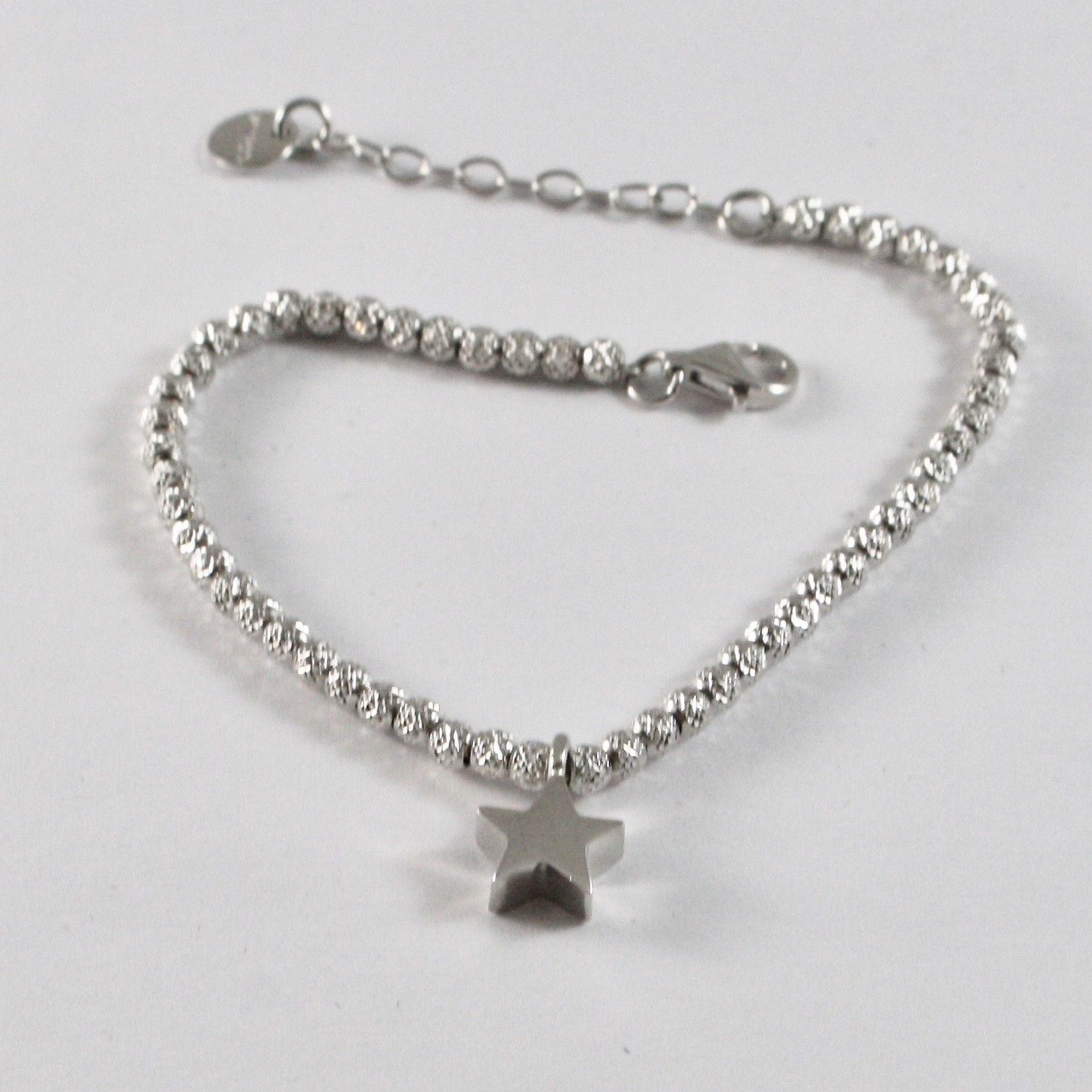 SILVER 925 BRACELET JACK&CO WITH CHARM STAR AND BALLS FACETED JCB0801
