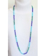"""Elegant Knotted Cut Glass Necklace blue / green 40"""" 1990s vintage - $24.70"""
