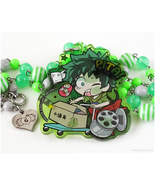 BNHA Midorya Anime Character Necklace, Green, Gray, Stainless Steel - $41.00
