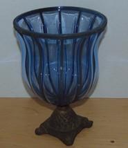"Candle Holder Cobalt Blue Glass Brass Stand 10"" High-7"" Wide At Top- - $22.00"