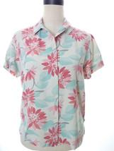 Woolrich Floral Pink Teal Silk Blend Medium Short Sleeve Button Down Top... - $14.00