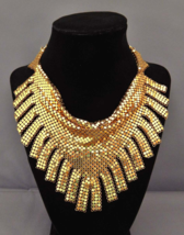 Whiting & Davis Necklace FRINGE BIB Gold Mesh Chainmaille Necklace, Vint... - $298.00