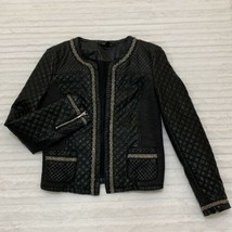 Forever 21 Vegan Faux Leather Jacket Size Medium M Quilted Beaded Pleath... - $28.49