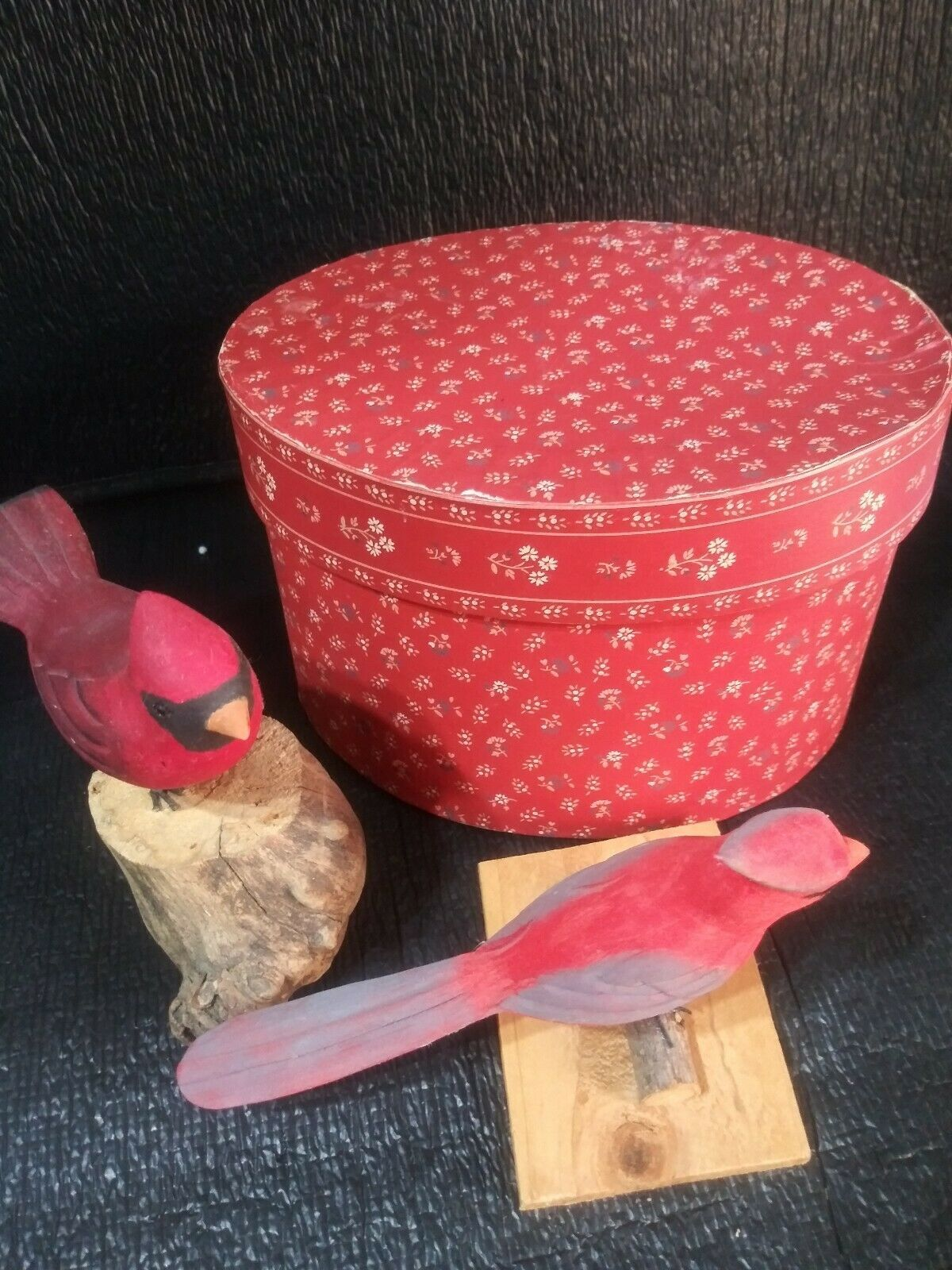 Vintage Collectible wood carving Bird vintage box Hand Painted Signed [ab4]
