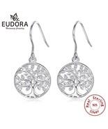 925 Sterling Silver Tree of life Drop Earring with AAA Zircon Women Fash... - $24.66