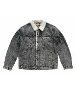 Levis Premium Red Tab Mens Black Acid Wash Denim Jean Sherpa Trucker Jacket - $103.55