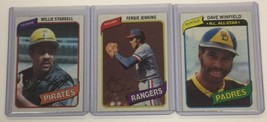 3 - 1980 Topps Hall of Famers DAVE WINFIELD, FERGIE JENKINS, WILLIE STAR... - $4.49