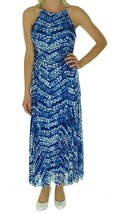 [2636-1]Nine West Women's Print Mesh Maxi sleeveless Dress Blue 10 MSRP $89 - $13.88
