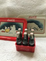 1997 Coca-cola Tip Trays(2)- Small Plastic Case With 6 Glass Bottles - $25.00