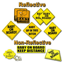 Zone Tech Baby On Board Car Safety Bumper Decal Magnet Reflective Warnin... - $4.49+