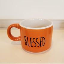 Espresso Mug Set of 3, ceramic cups, Thankful Grateful Blessed, orange gray image 5