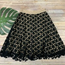 Akris Womens Crochet Overlay A-Line Skirt Size 6 Cream Black Silk Cotton... - $54.44