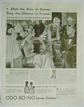 1933 Print Ad ODO-RO-NO Saves Clothes  Advertising - $12.95