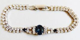 VTG SP Lind Silver tone Sapphire Blue & Clear crystal rhinestone bracele... - $64.35