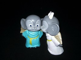 Pair Kissing Angel Mice Ceramic Bisque Figurines Hand Painted Vintage 1970s - $18.77