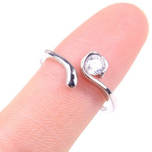 Women's Adjustable Toe Ring Round Cut CZ White Gold Plated 925 Sterling Silver - $29.36