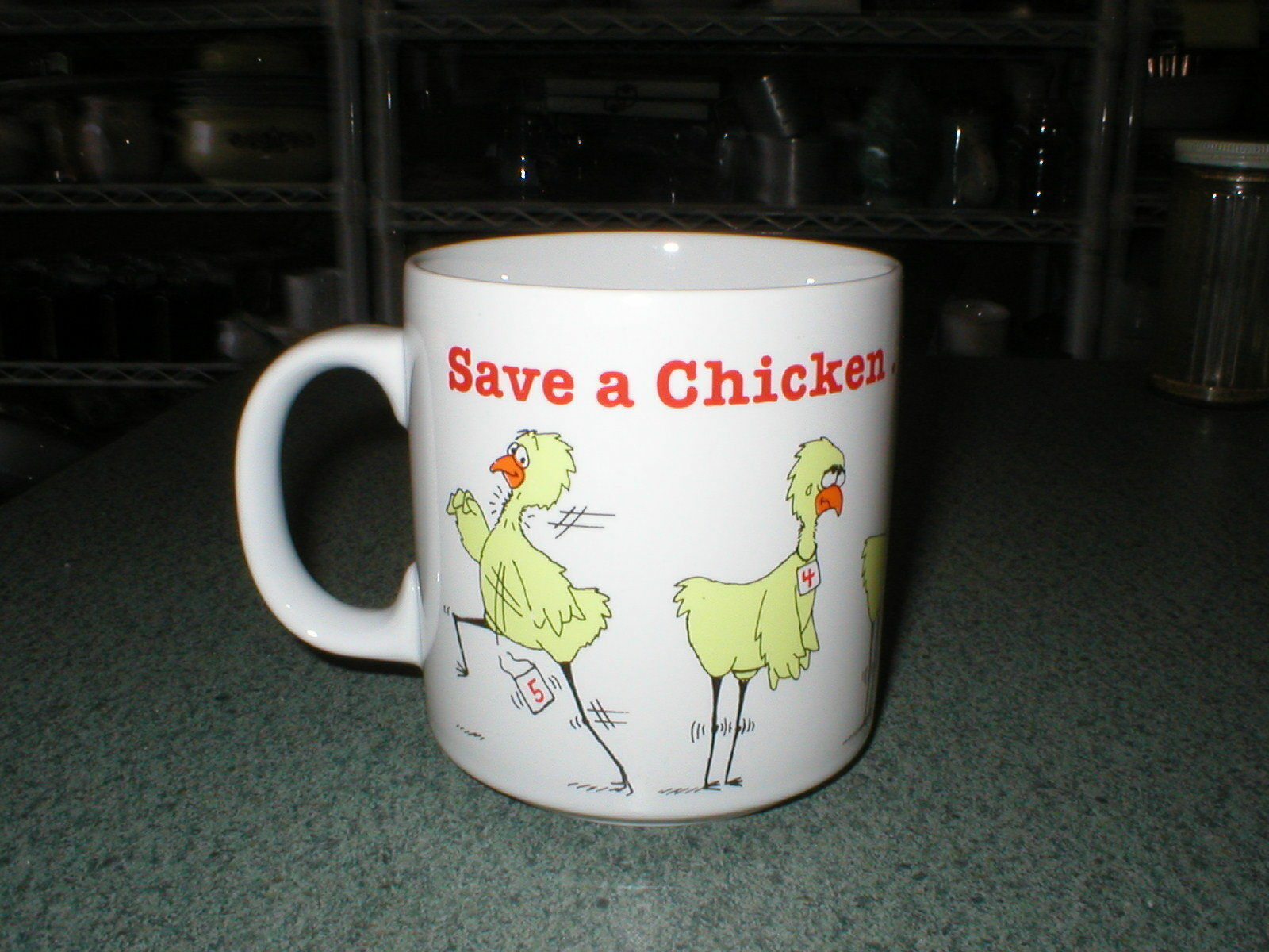"Primary image for RUSS BERRIE SAVE A CHICKEN....GET WELL SOON COFFEE MUG CUP 3 1/2"" Tall x 3 1/4"""