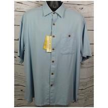 Island Republic Men's Light Blue SS Button Down Hawaiian Camp Shirt Size: XXL