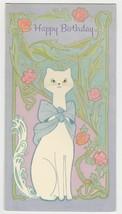 Vintage Birthday Card White Cat Purple Pink 1960's American Greetings - $8.90