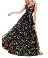 Women's V Neck Ball Gown Embroidery Evening Dresses Floral Print Long Pr... - $133.99