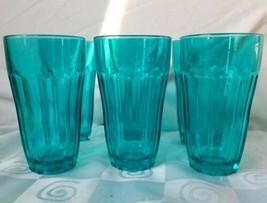 "6 Vintage Glasses Pasabahce Palaks Glass Paneled Tumblers Flashed Blue 5⅜"" - $52.20"
