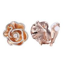 XZP Fashion Clips Earring Rose Gold Flower with Austria CZ Clip-on Earri... - $17.28