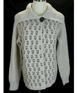 FISHERMAN OUT OF IRELAND Sweater Cardigan M Soft Merino Wool Cable Shawl... - $53.45