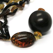 18K YELLOW GOLD LONG NECKLACE, HORN, AMBER, EBONY, 1 METER, 39.4 INCHES image 4