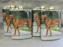 Set of 4 Dog Vizsla 03 Flasks 8oz Stainless Steel Drinking Whiskey - $26.68