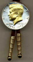 J & J Coin Jewelry Bolo Tie /24KGold on Silver Bicentennial Kennedy Half... - $69.95