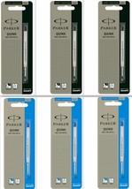 6 x Parker Quink Flow BallPoint Pen BallPen Refills Medium 3 Blue + 3 Bl... - $8.99