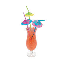 48 Umbrella Parasol Straws - Bendy w/ Hibiscus Print, Tiki Luau Party Su... - £7.39 GBP