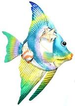Beautiful Unique Colorful Nautical Angel Fish Metal Shell Wall Art - $24.69