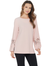 Dennis Basso Medium Caviar Crepe Tunic with Lace-Trimmed Sleeves Blush P... - $11.27