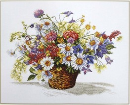 Cross Stitch Kit Hand Embroidery Flowers Meadow Flowers - $33.00