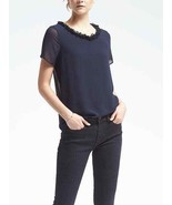 Banana Republic Fringe Trim Top, 100% Polyester, Lined, Navy, Size M, NWT - $39.50