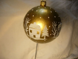 Vaillancourt Folk Art Red Village Santa with Tree on Gold Ornament image 1