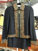 St. John Collection Black Shimmer Jacket w/Brown Emb. Skirt Suit Sz 4/6 $1590 - $444.41