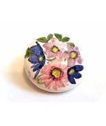 Handpainted Floral on Ceramic Porcelain Made in Scotland Vintage Pin - $15.89